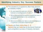 identifying industry key success factors