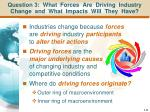 question 3 what forces are driving industry change and what impacts will they have