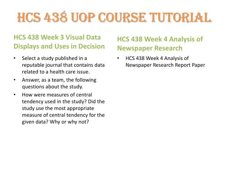 hcs 438 analysis of research report For more course tutorials visit\nwwwuophelpcom\n\n\n\nhcs 438 week 4 analysis of newspaper research report paper\nhcs 438 week 1 checkpoint sample of chart or graph paper\nhcs 438 week 2 checkpoint uses of statistical information\nhcs 438 week 1 dqs\nhcs 438 week 2 dqs\nhcs 438 week 3.