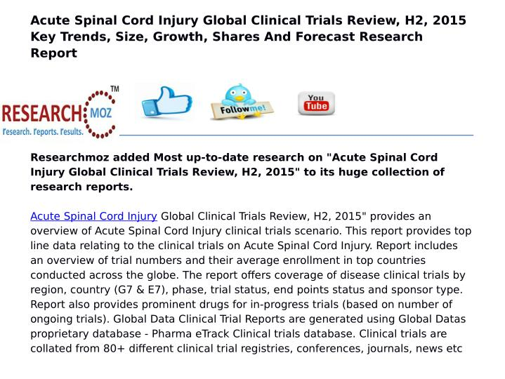 Acute Spinal Cord Injury Global Clinical Trials Review, H2, 2015