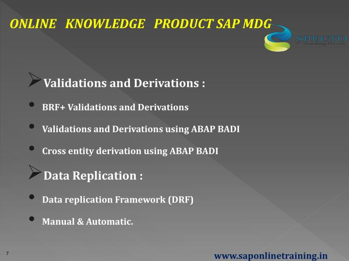 ONLINE   KNOWLEDGE   PRODUCT SAP MDG