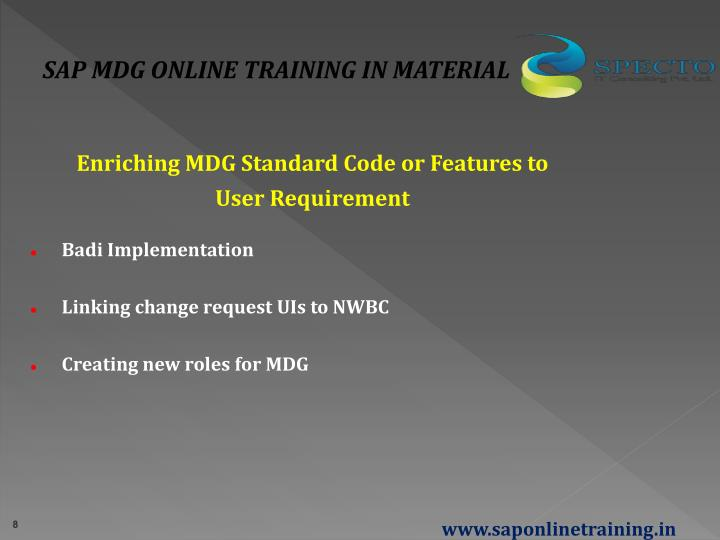 SAP MDG ONLINE TRAINING IN MATERIAL
