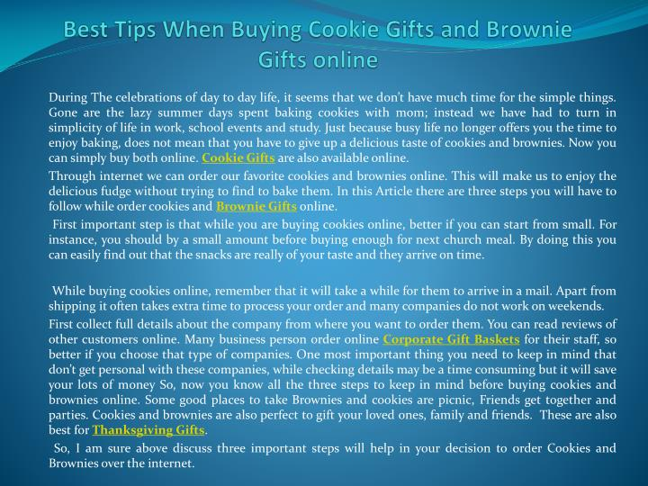 best tips when buying cookie gifts and brownie gifts online n.