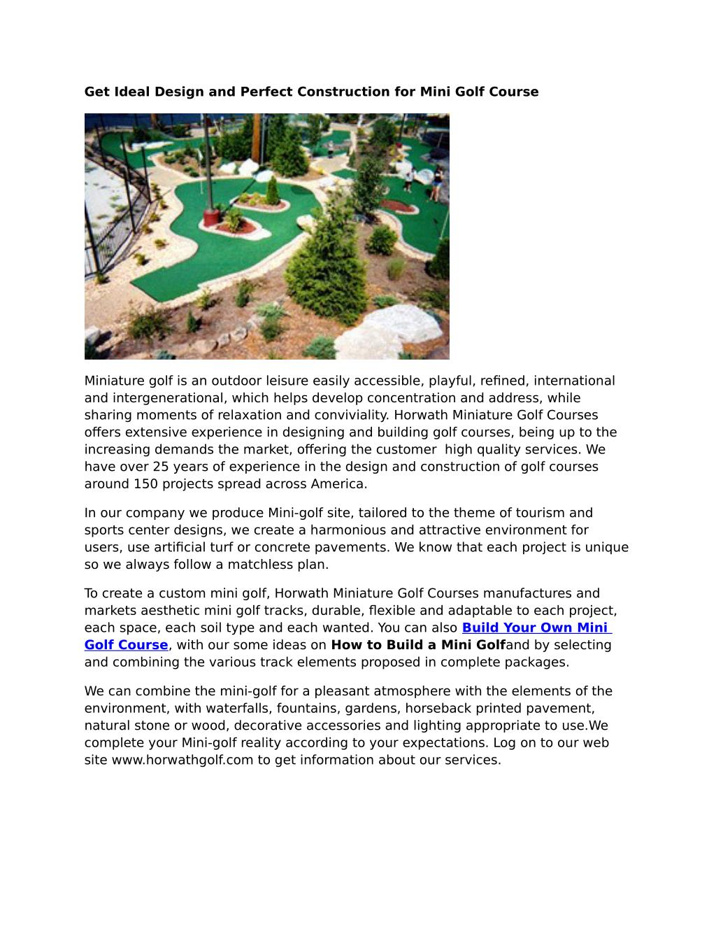 Ppt Build Your Own Mini Golf Course Powerpoint Presentation Id