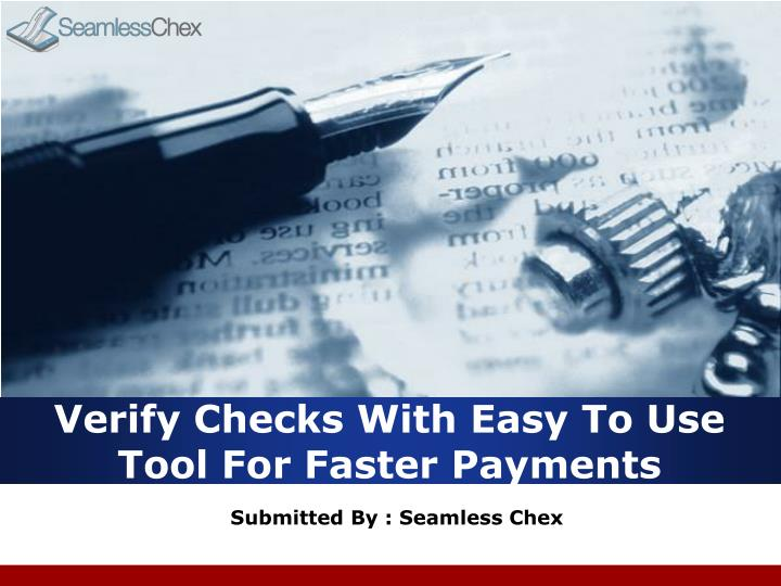 verify checks with easy to use tool for faster payments n.
