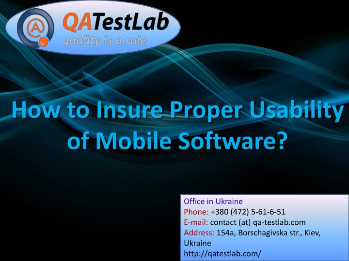 how to insure proper usability of mobile software n.