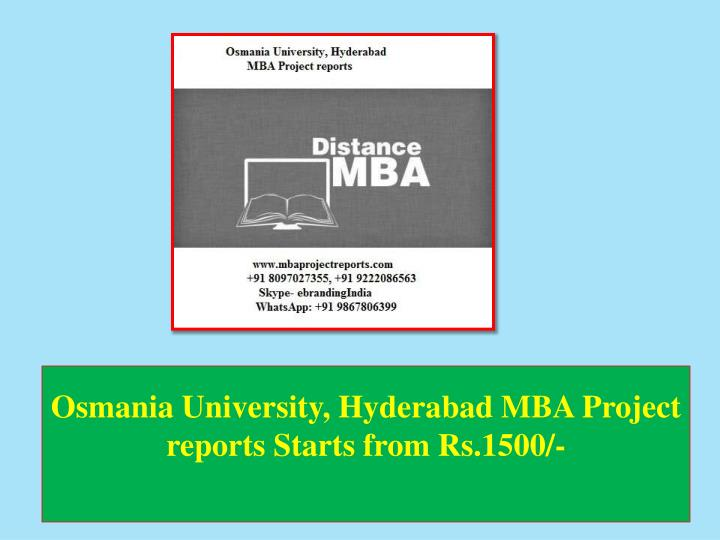 osmania university hyderabad mba project reports starts from rs 1500 n.