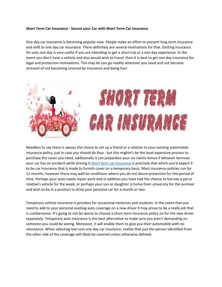 Short Term Car Insurance - Secure your Car with Short Term Car Insurance