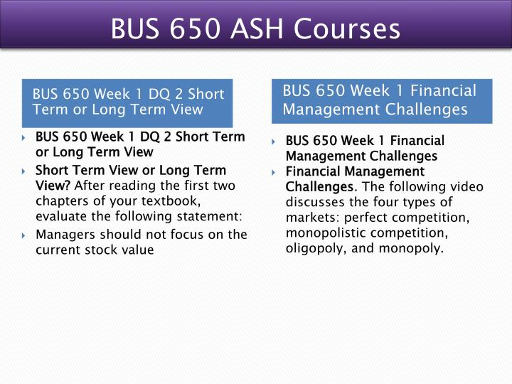BUS 650 ASH Courses