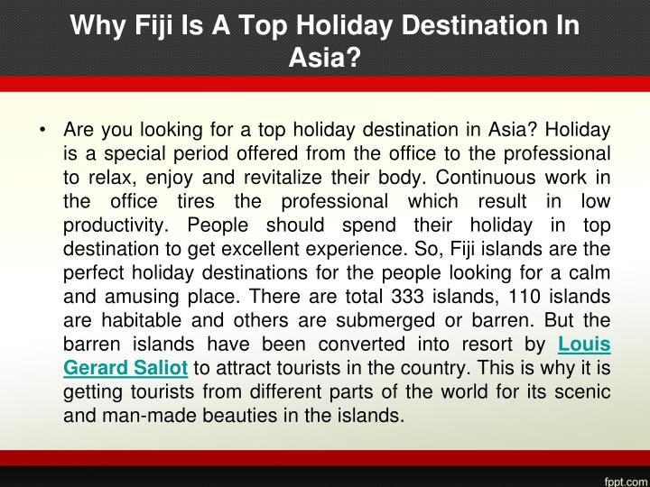 Why fiji is a top holiday destination in asia