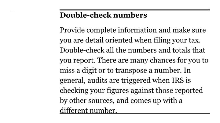 Double-check numbers