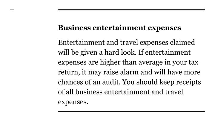 Business entertainment expenses