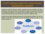 scott carson park city healthcare investment advisor