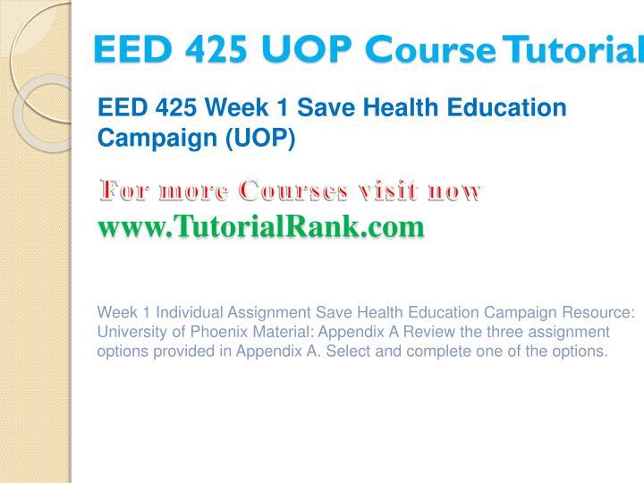 EED 425 UOP Course Tutorial