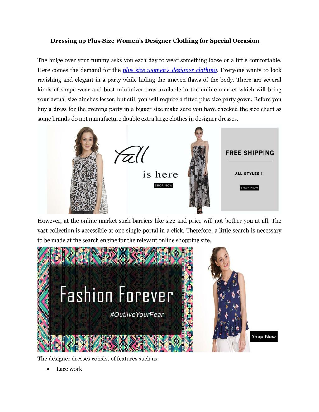 Ppt Dressing Up Plus Size Women S Designer Clothing For Special Occasion Powerpoint Presentation Id 7221411