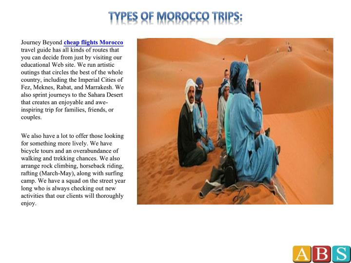 Types of morocco trips