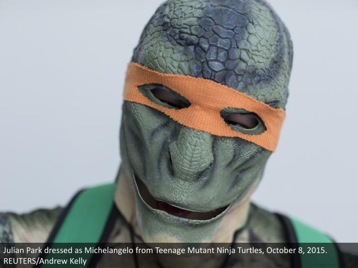 Julian Park dressed as Michelangelo from Teenage Mutant Ninja Turtles, October 8, 2015. REUTERS/Andrew Kelly