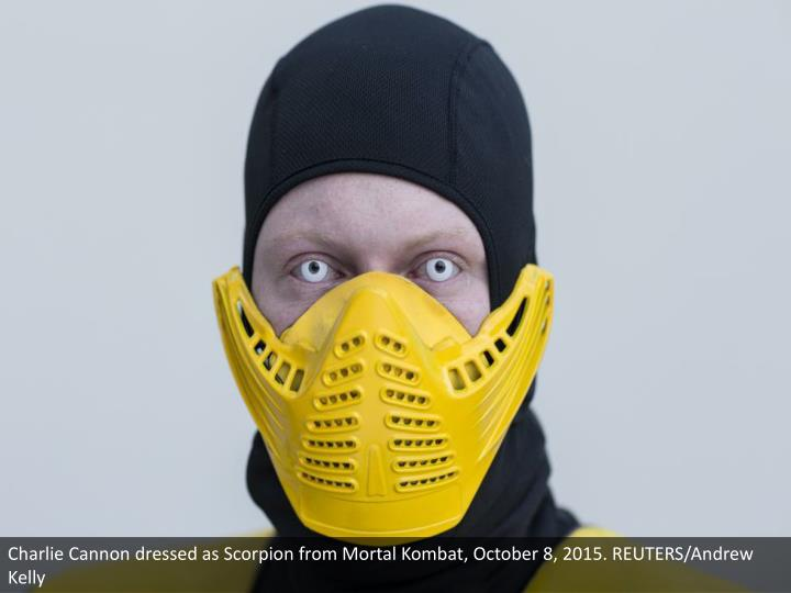Charlie Cannon dressed as Scorpion from Mortal Kombat, October 8, 2015. REUTERS/Andrew Kelly