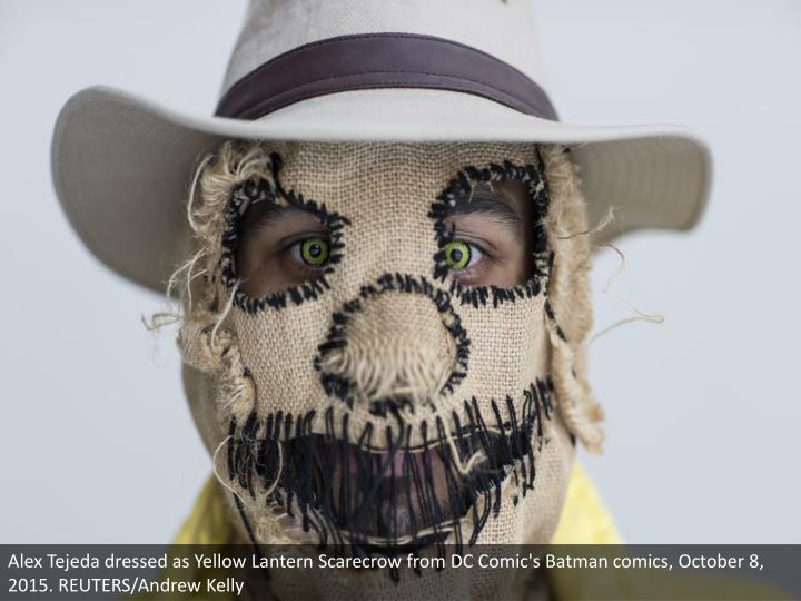 Alex Tejeda dressed as Yellow Lantern Scarecrow from DC Comic's Batman comics, October 8, 2015. REUTERS/Andrew Kelly