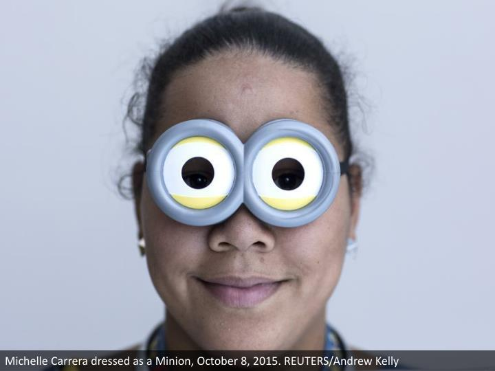 Michelle Carrera dressed as a Minion, October 8, 2015. REUTERS/Andrew Kelly