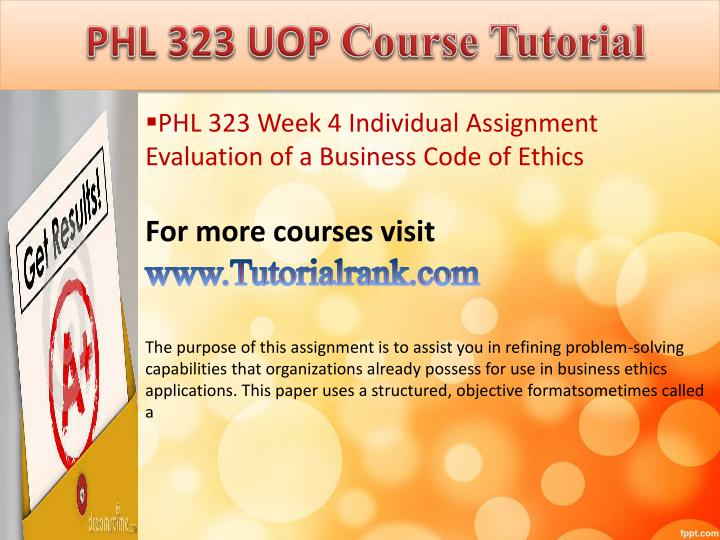 phl 323 week 4 individual evaluation of a business code of ethics