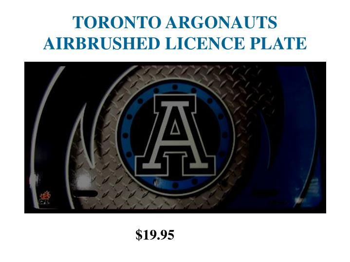 Toronto argonauts airbrushed licence plate