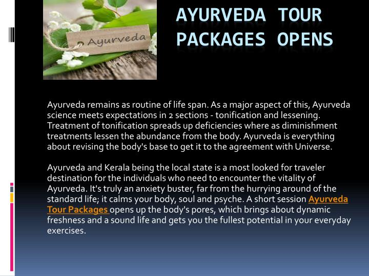 ayurveda tour packages opens n.