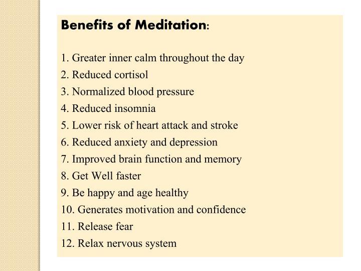 Benefits of Meditation: