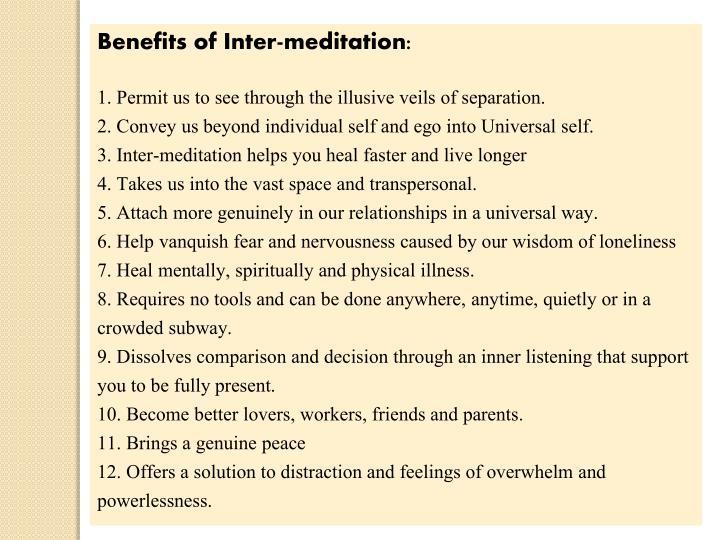 Benefits of Inter-meditation: