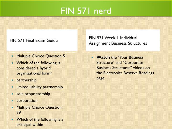 fin 571 final exam questions University of phoenix discussion questions: blog about contact fin 571 final exam assignments 1/27 want to see the final exam answers click fin 571 final exam.