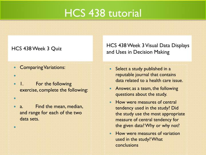 hcs 438 week 3 quiz For more classes visit wwwhcs438expertcom hcs 438 week 3 quiz comparing variations: 1 for the following exercise, complete the following: a.