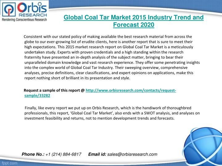Global coal tar market 2015 industry trend and forecast 20201