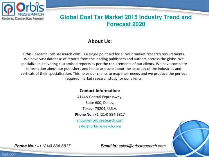 Global coal tar market 2015 industry trend and forecast 20202