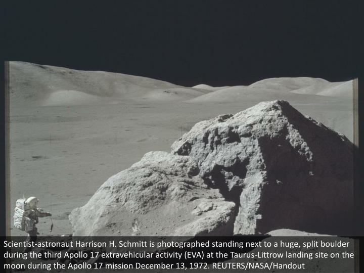 Scientist-astronaut Harrison H. Schmitt is photographed standing next to a huge, split boulder during the third Apollo 17 extravehicular activity (EVA) at the Taurus-Littrow landing site on the moon during the Apollo 17 mission December 13, 1972. REUTERS/NASA/Handout