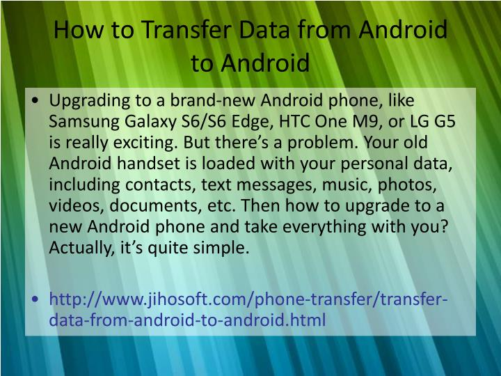 how to transfer data from android to android n.