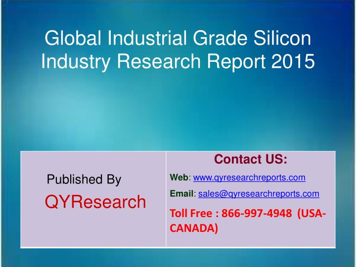 Global Industrial Grade Silicon