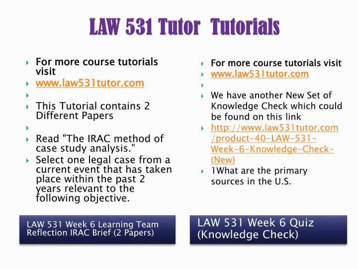 law 531 the irac method of case study analysis
