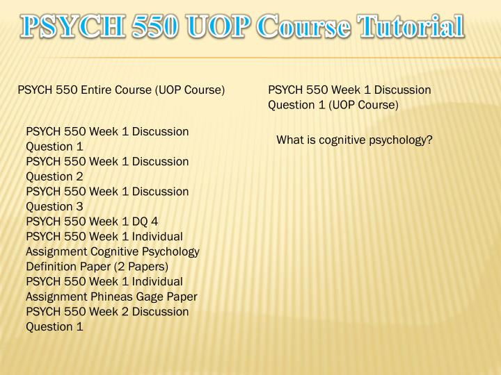 psych 550 entire course Psych 500 entire course proferssional expert previous post psy 490 entire course next post psych 550 entire course learn and.