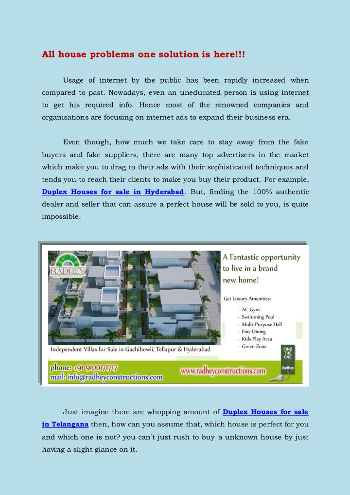 PPT - Duplex Houses for sale in Hyderabad PowerPoint Presentation