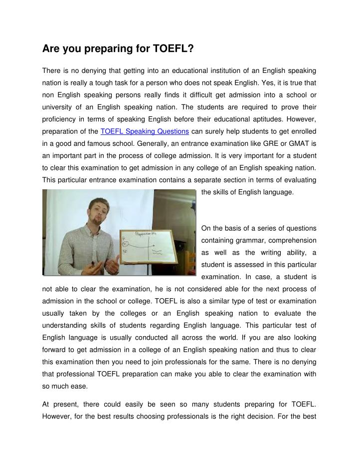 Are you preparing for TOEFL?