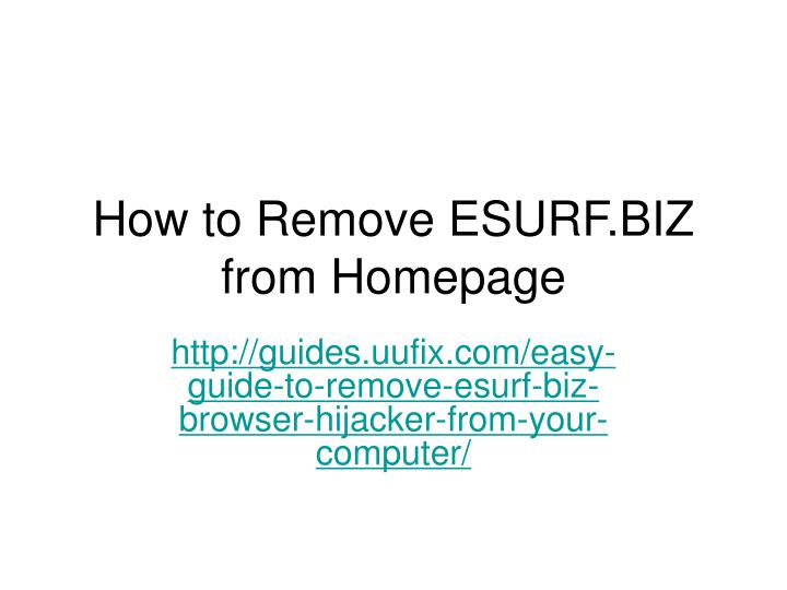 how to remove esurf biz from homepage n.