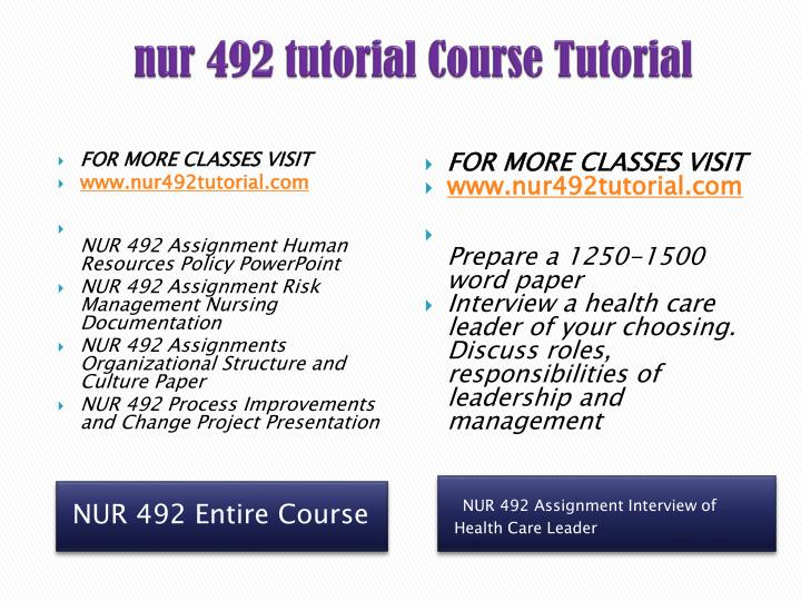 nur 492 human resource policy presentation This tutorial contains 2 presentations nur 492 week 7 process improvement and change project presentation - instructions: prepare a 10- to 15-slide microsoft® powerpoint® presentation with speaker notes and include the following topics: • introduce the chosen process for improvement.