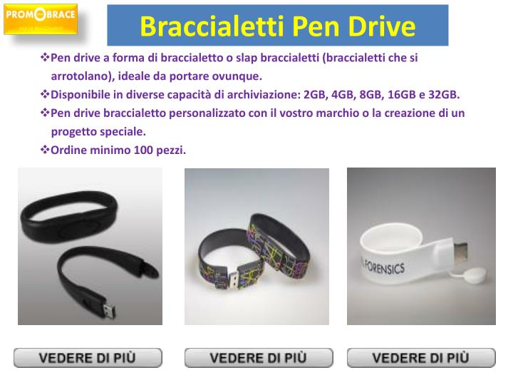 Pen drive a forma di braccialetto o slap braccialetti (braccialetti che si