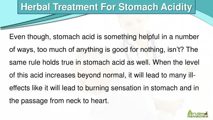 Herbal Treatment For Stomach Acidity