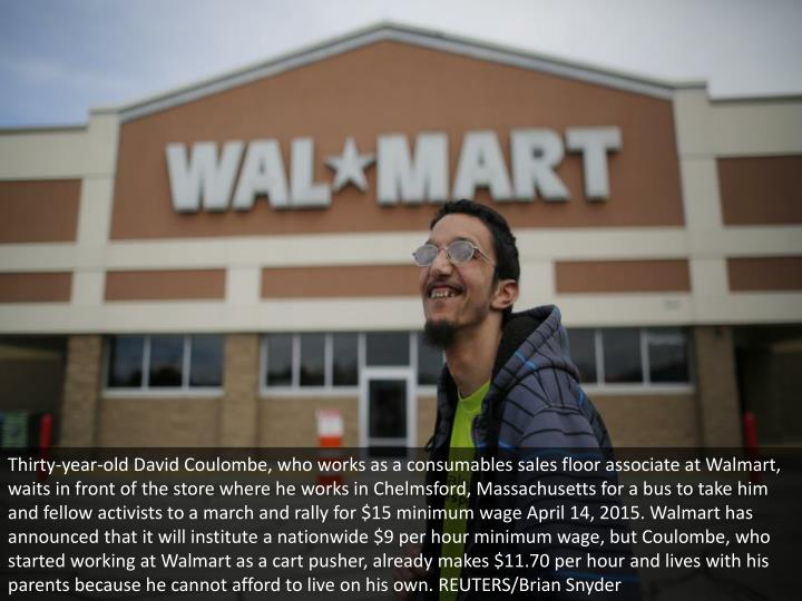 Thirty-year-old David Coulombe, who works as a consumables sales floor associate at Walmart, waits i...