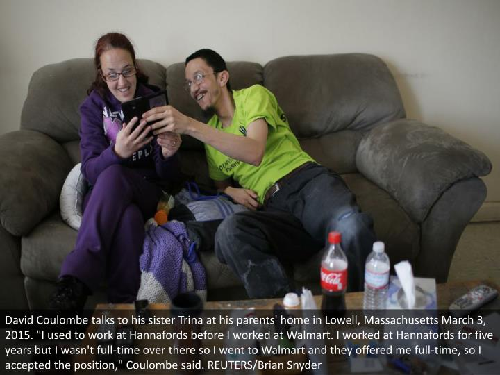 David Coulombe talks to his sister Trina at his parents' home in Lowell, Massachusetts March 3, 2015...