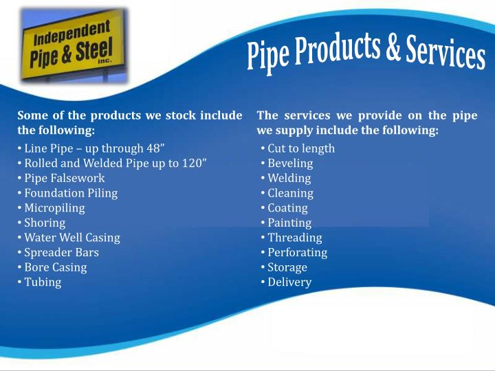 Some of the products we stock include