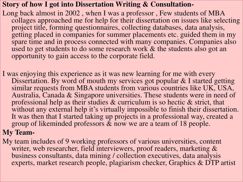 Dissertation consulting services kolkata