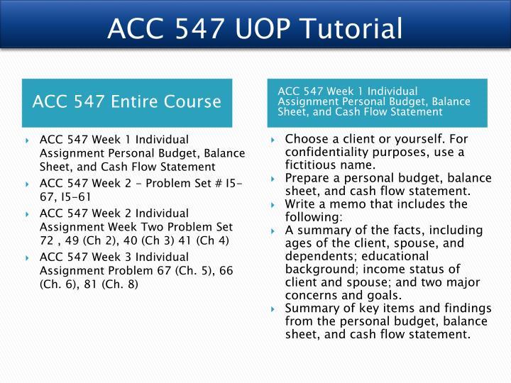 ACC 547 UOP Tutorial