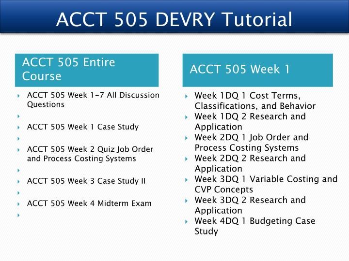 acct 505 case 1 week Acct 505 week 1 case study (devry) full transcript more presentations by arktik1 style.